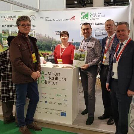 AAC booth at Agro Animal Show Kiew, Ukraine. Austrian Agricultural Cluster, CEO Hermann Wieser